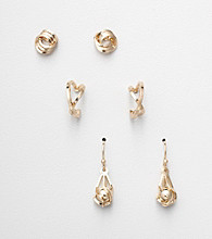 Napier® Set of 3 Pairs of Goldtone Earrings