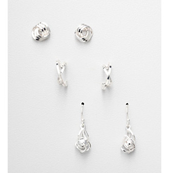 Napier® Set of 3 Pairs of Silvertone Earrings