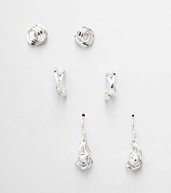 Napier® Set of 3 Pairs of Silvertone Earrings