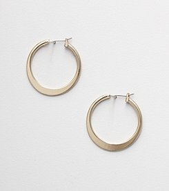 Napier® Goldtone Flat Hoop Earrings