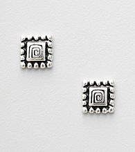 Napier® Square Stud Earrings with Black Accents