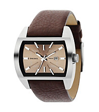 Diesel Men's Stainless Steel Genuine Brown Leather