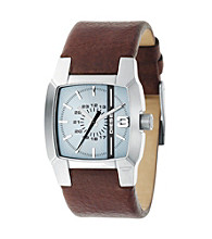Diesel Men's Stainless Steel Genuine Brown Leather Watch