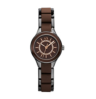 A|X Armani Exchange Ladies' Silver/Chocolate Two-Tone Watch