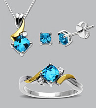 14k Gold/Sterling Silver 3 Piece Set - Blue Topaz