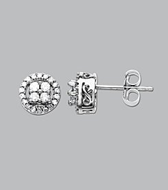 10k White Gold .25 ct. t.w. Diamond Cluster Earrings