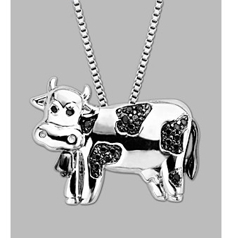 Sterling Silver Cow Pendant - Black Diamond