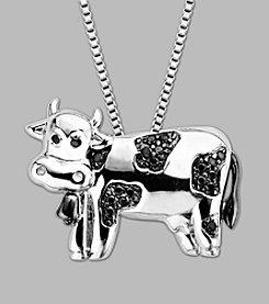 Sterling Silver Black Diamond Cow Pendant
