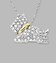 10k White Gold .25 ct. t.w. Diamond Scottie Dog Pendant