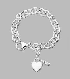 Sterling Silver Heart Charm Link Bracelet