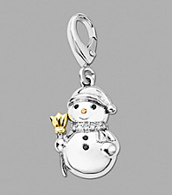 14k Rose Gold Sterling Silver Diamond Snowman Charm