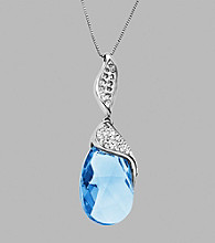 Impressions® Sterling Silver Swarovski® Elements Pendant Necklace - Blue/White