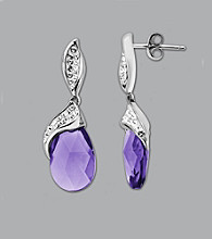 Impressions® Sterling Silver Swarovski® Elements Earrings - Purple/White