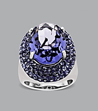 Impressions® Sterling Silver Swarovski® Elements Ring - Purple/White