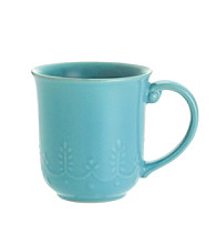 Paula Deen® Signature Aqua Bas Relief Whitaker Set of 4 Mugs