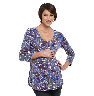Three Seasons Maternity™ Purple Watercolor Floral Drapefront Top plus size,  plus size fashion plus size appare