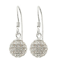 Athra Sterling Silver Crystal Crystal Pave Ball Drop Earrings