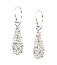 Athra Sterling Silver Crystal Pave Teardrop Earrings