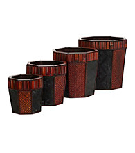 Nearly Natural® Bamboo Octagon Decorative Planters (Set of 4)