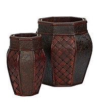 Nearly Natural® Design and Weave Panel Decorative Planters (Set of 2)