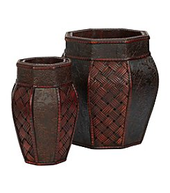 Nearly Natural® 2-pc. Design and Weave Panel Decorative Planter Set
