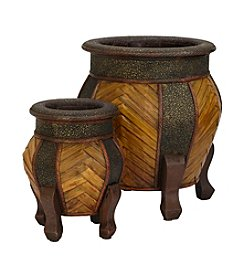 Nearly Natural® 2-pc. Decorative Rounded Wood Planter Set