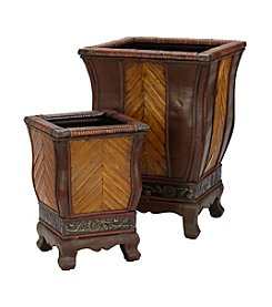 Nearly Natural® 2-pc. Decorative Wood Planter Set