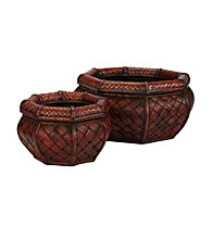 Nearly Natural® Rounded Ocatagon Decorative Planters (Set of 2)
