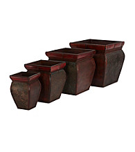 Nearly Natural® Square Planters with Rim (Set of 4)