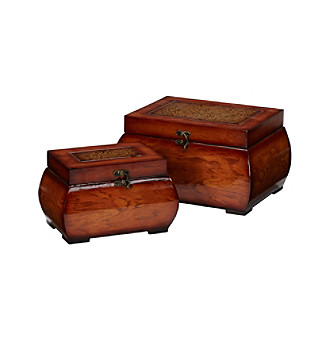 Nearly Natural® 2-pc. Decorative Lacquered Wood Chest Set