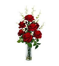 Nearly Natural® Roses with Cherry Blossoms Silk Flower Arrangement