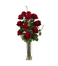 Nearly Natural® Roses with Cylinder Vase Silk Flower Arrangement