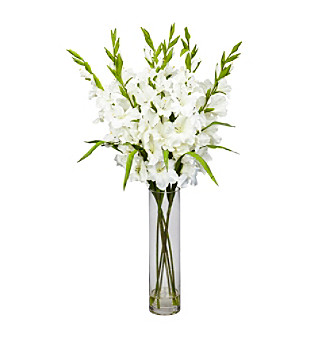 Nearly Natural® Large Gladiola with Cylinder Vase Silk Arrangement