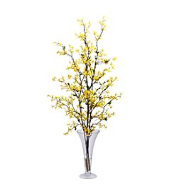 Nearly Natural® Forsythia with Vase Silk Flower Arrangement