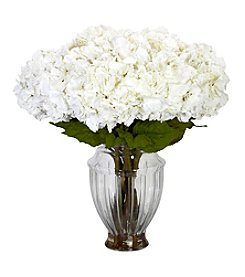 Nearly Natural® Large Hydrangea with European Vase Silk Flower Arrangement