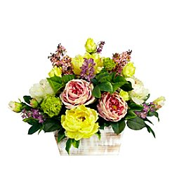Nearly Natural® Mixed Floral with White Wash Planter Silk Arrangement