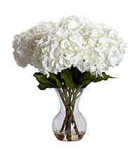 Nearly Natural® Large Hydrangea with Vase Silk Flower Arrangement