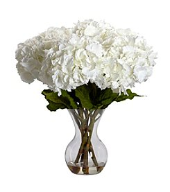 Nearly Natural® Large Hydrangea with Vase Silk Flower Arrangement