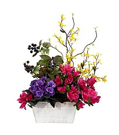 Nearly Natural® Mixed Floral with Azalea & White Wash Planter Silk Arrangement