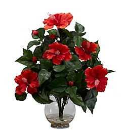 Nearly Natural® Hibiscus with Fluted Vase Silk Flower Arrangement