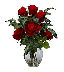 Nearly Natural® Rose with Fern Silk Flower Arrangement