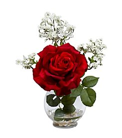 Nearly Natural® Rose & Gypso with Fluted Vase Silk Flower Arrangement