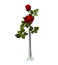 Nearly Natural® Roses with Tall Bud Vase Silk Flower Arrangement