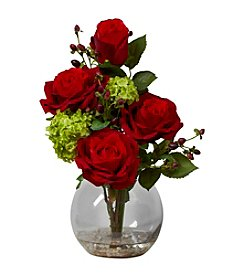 Nearly Natural® Rose & Hydrangea Silk Flower Arrangement