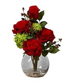 Nearly Natural® Rose & Hydrangea Silk Flower Arrangement