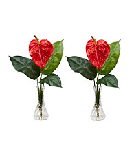 Nearly Natural® Anthurium with Bud Vase Silk Flower Arrangement (Set of 2)