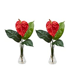 Nearly Natural® Set of Two Anthurium with Bud Vase Silk Flower Arrangement