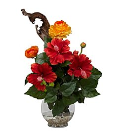 Nearly Natural® Hibiscus & Ranunculus with Fluted Bowl Silk Flower Arrangement