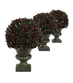 Nearly Natural® Set of Three Pepper Berry Ball Topiary