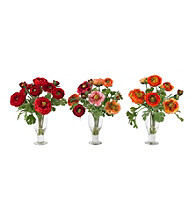 Nearly Natural® Ranunculus with Champagne Vase (Set of 3)